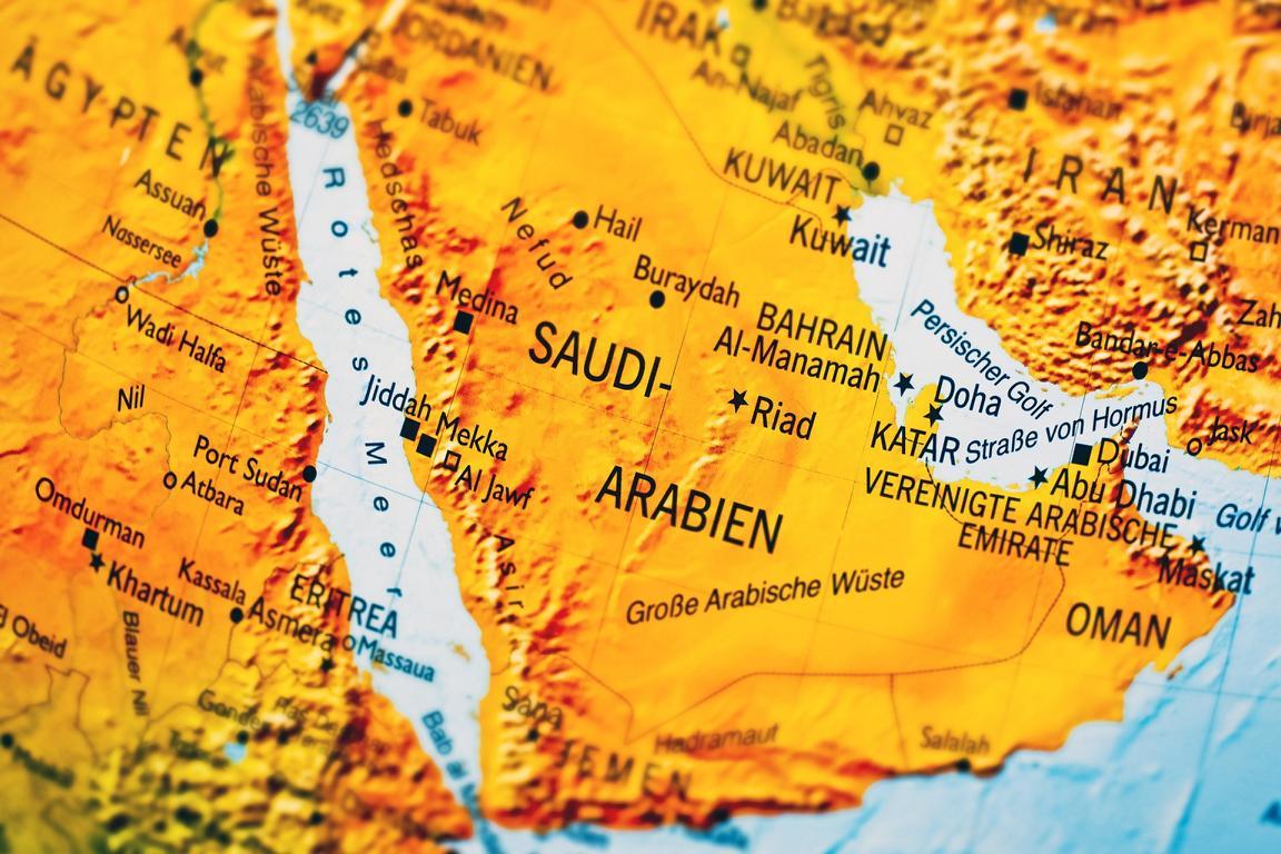 Saudi Arabien, die Karte mit Städten